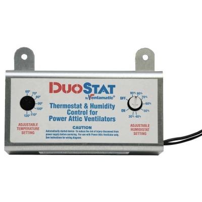 Ventamatic DuoStat Power Attic Vent Thermostat and Humidistat