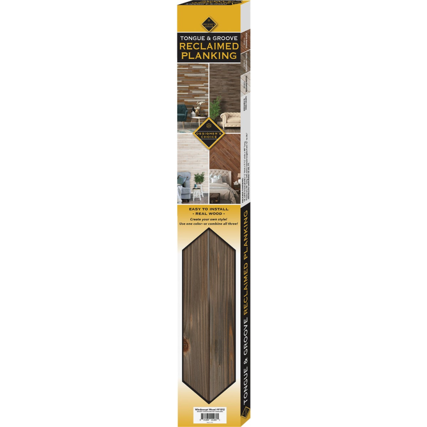 Global Product Sourcing 3-1/2 In. W. x 1/4 In. Thick Solid Wood Gray Reclaimed Wood Wall Plank Image 4