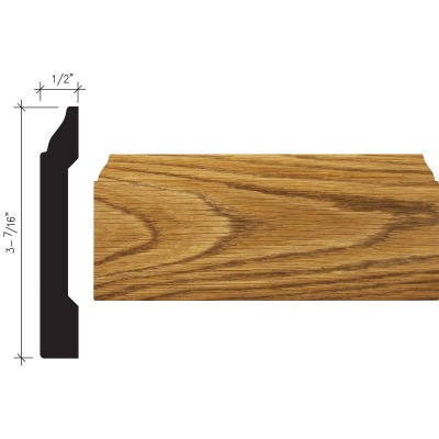 Inteplast Building Products 1/2 In. W. x 3-7/16 In. H. x 8 Ft. L. Ultra Oak Polystyrene Colonial Base Molding