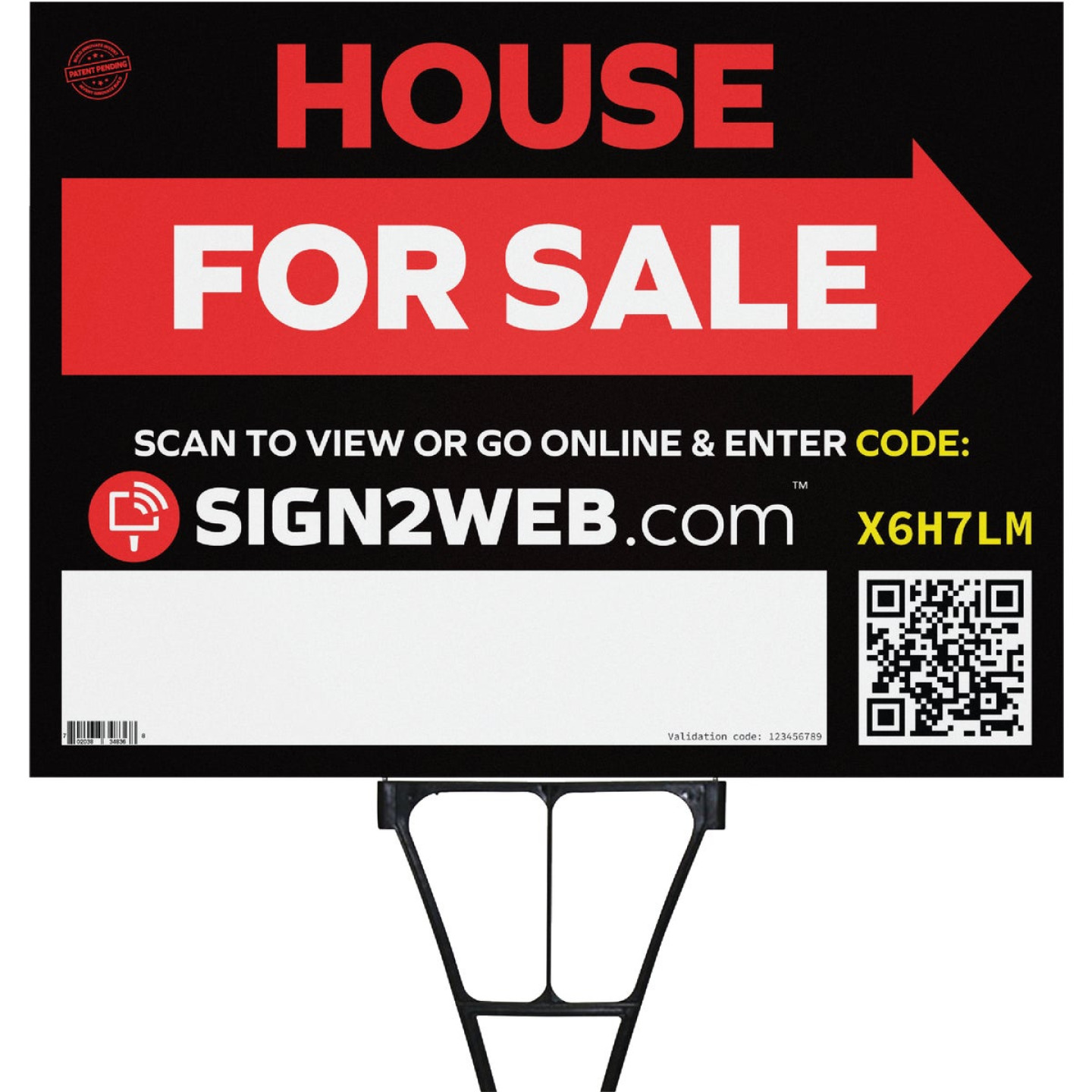 Sign2Web 18 In. x 24 In. Double Sided House For Sale with Arrow Sign Image 1
