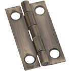National 3/4 In. x 1 In. Antique Brass Narrow Decorative Hinge (2-Pack) Image 1