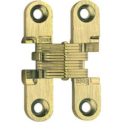 SOSS Satin Brass 1/2 In. x 1-3/4 In. Invisible Hinge, (2-Pack)