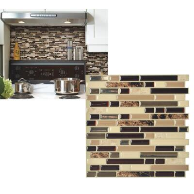 Smart Tiles 10 In. x 10.06 In. Glass-Like Plastic Backsplash Peel & Stick, Bellagio Keystone Mosaic (6-Pack)
