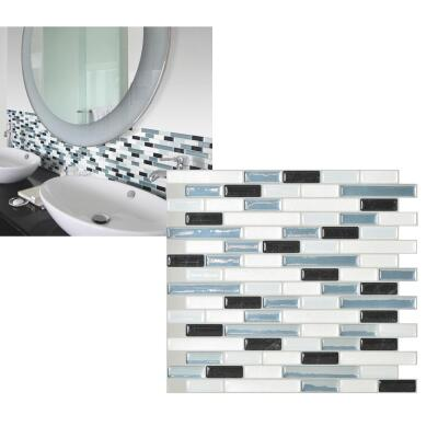 Smart Tiles 10.2 In. x 9.1 In. Glass-Like Plastic Backsplash Peel & Stick, Muretto Brina Mosaic (6-Pack)