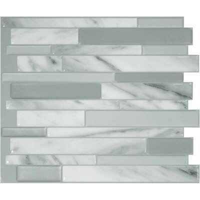 Smart Tiles Approx. 10 In. x 10 In. Glass-Like Vinyl Backsplash Peel & Stick, Milano Carrera Mosaic (6-Pack)