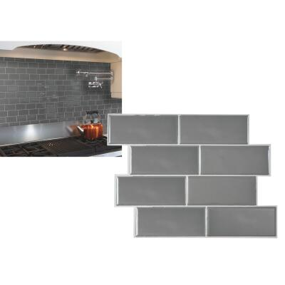 Smart Tiles 8.38 In. x 11.56 In. Glass-Like Plastic Backsplash Peel & Stick, Metro Grigio Subway Tile (6-Pack)