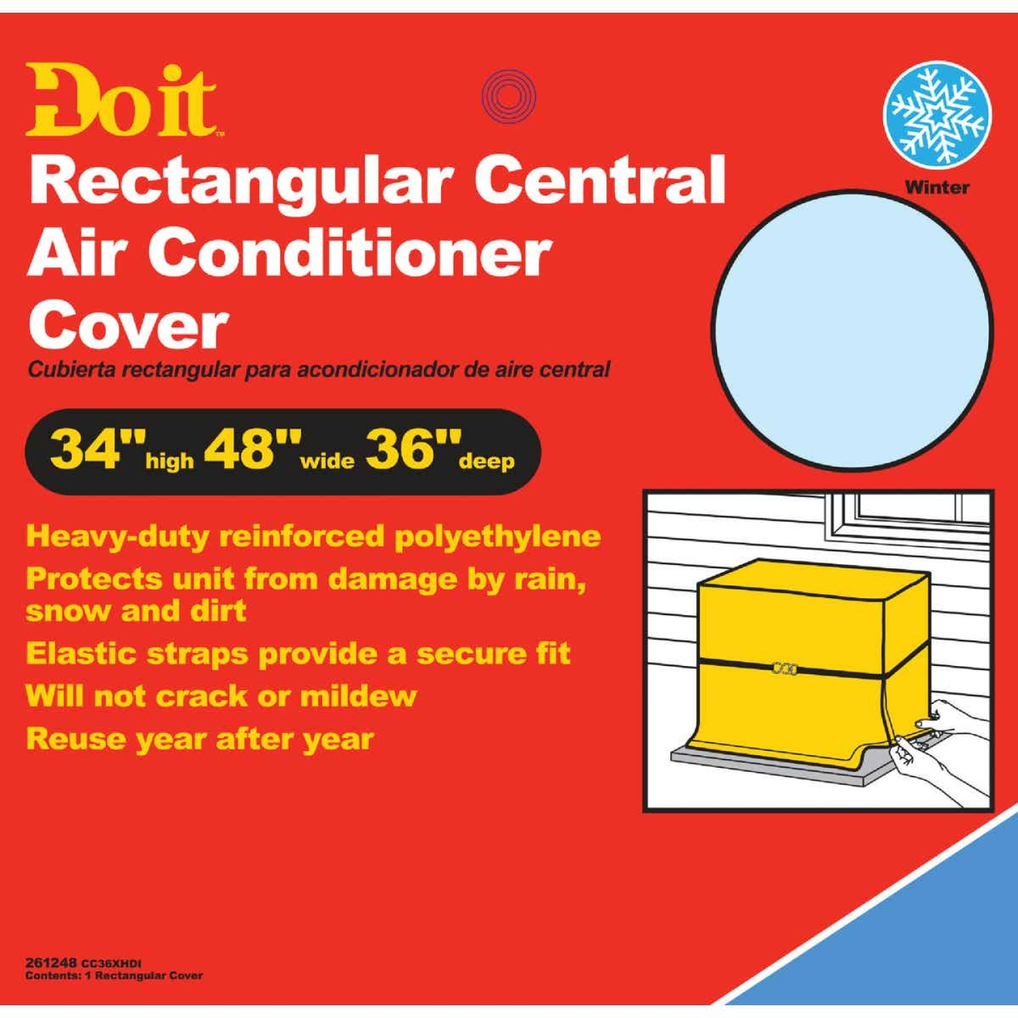 """Do it 48"""" x 34"""" x 36"""" Gray Polyethylene 9 mil Rectangular Central Air Conditioner Cover Image 1"""