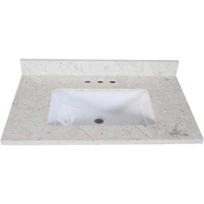 Design House 25 In. W x 22 In. D Giallo Quartz Vanity Top with Wave Bowl