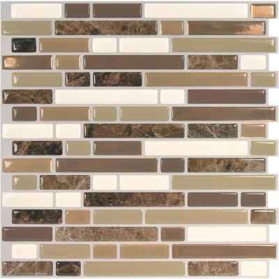 Smart Tiles 10 In. x 10.06 In. Glass-Like Plastic Backsplash Peel & Stick, Bellagio Nola Mosaic (6-Pack)