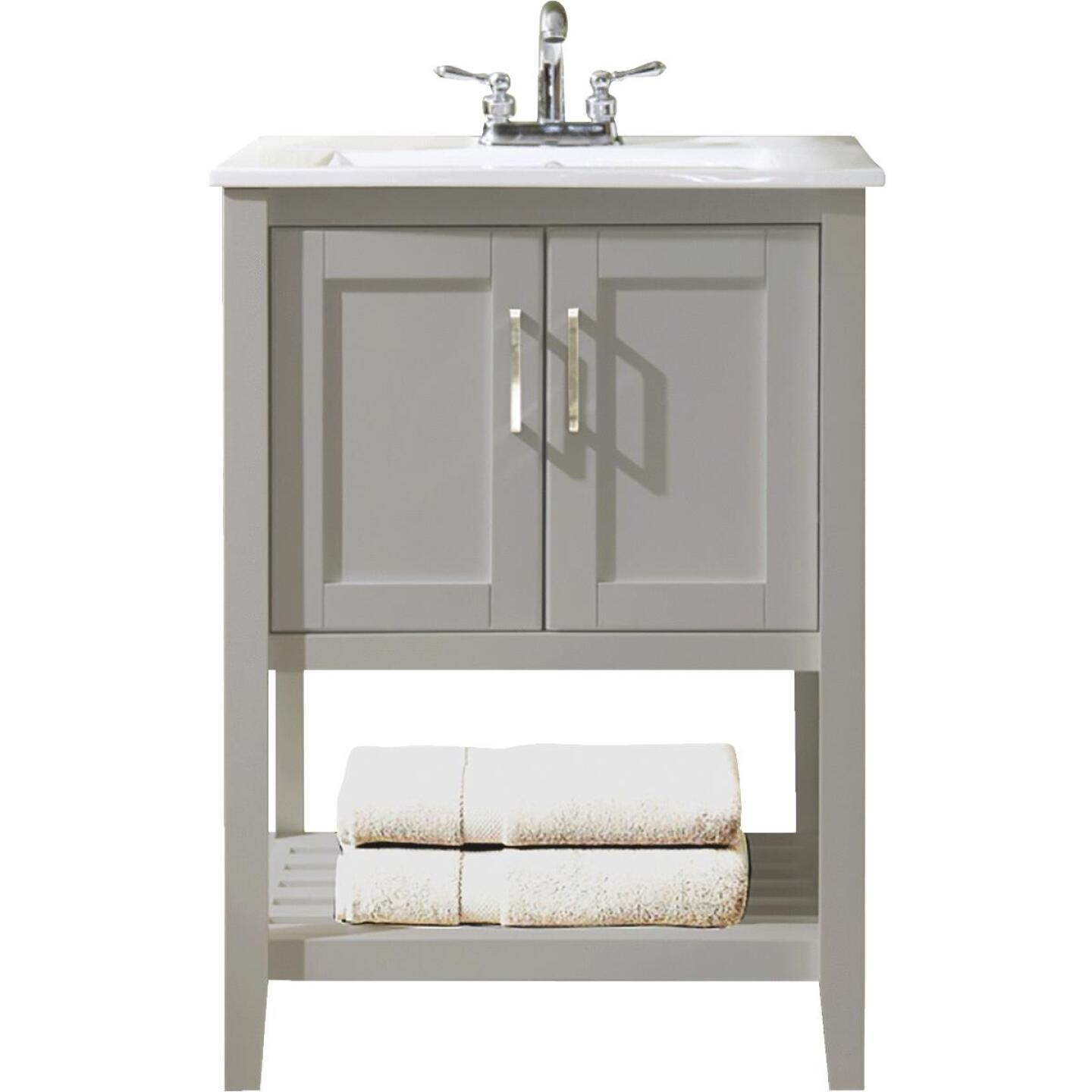 Design House Valerie Dove Gray 24 In. W x 34 In. H x 18 In. D Vanity with Porcelain Top Image 1