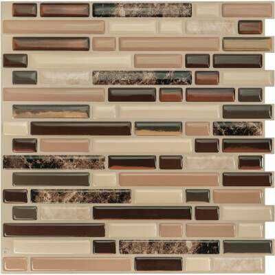 Smart Tiles Approx. 10 In. x 10 In. Glass-Like Vinyl Backsplash Peel & Stick, Bellagio Keystone Mosaic (4-Pack)