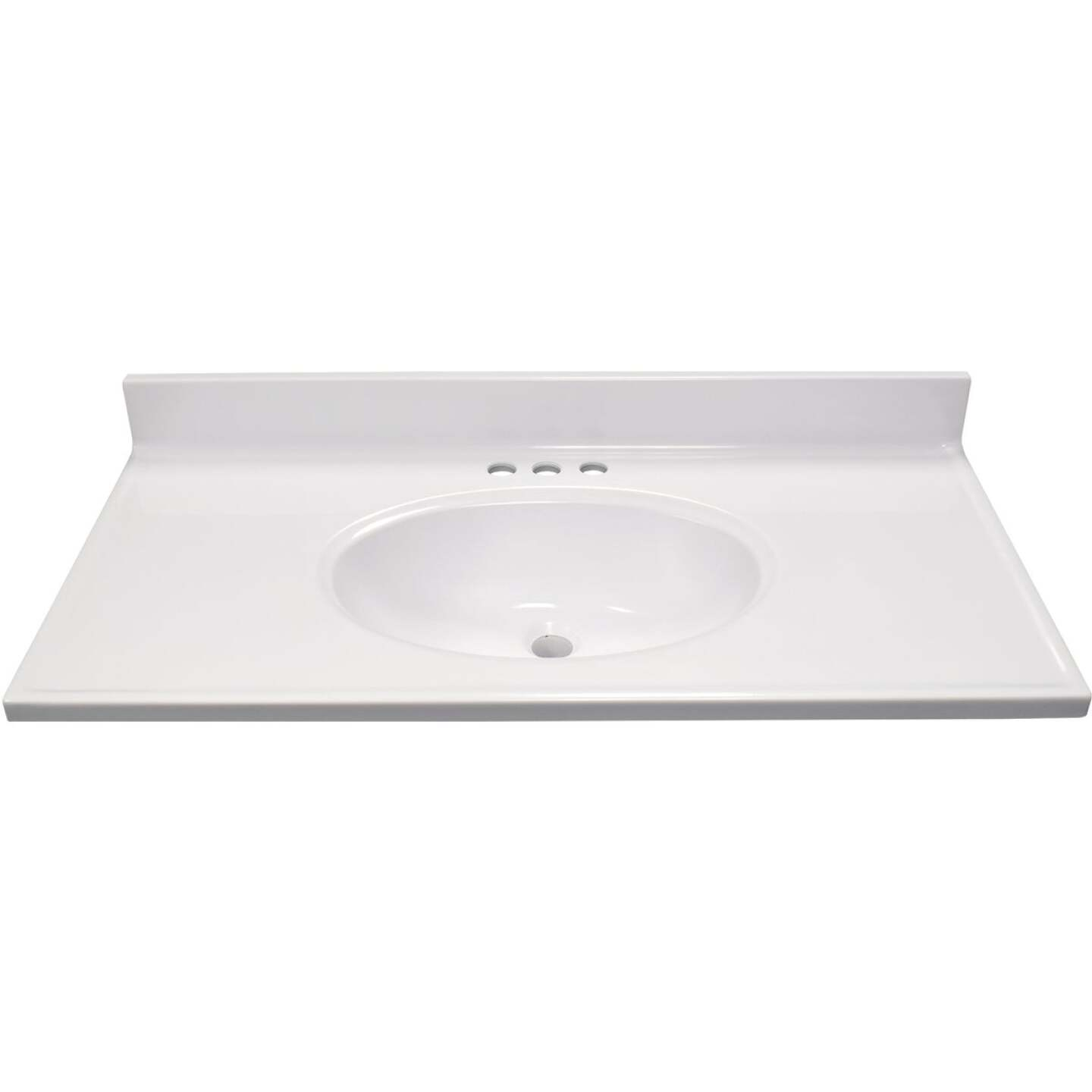 Modular Vanity Tops 37 In. W x 19 In. D Solid White Cultured Marble Vanity Top with Oval Bowl Image 2