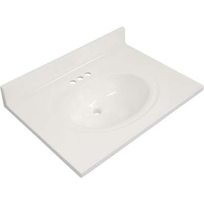 Modular Vanity Tops 31 In. W x 22 In. D Solid White Cultured Marble Flat Edge Vanity Top with Oval Bowl