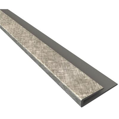 Fasade 18 In. Thermoplastic J-Edge Backsplash Trim, Cross Hatch Silver