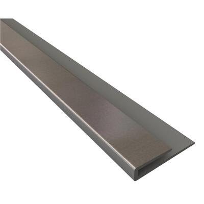 Fasade 18 In. Thermoplastic J-Edge Backsplash Trim, Brushed Aluminum