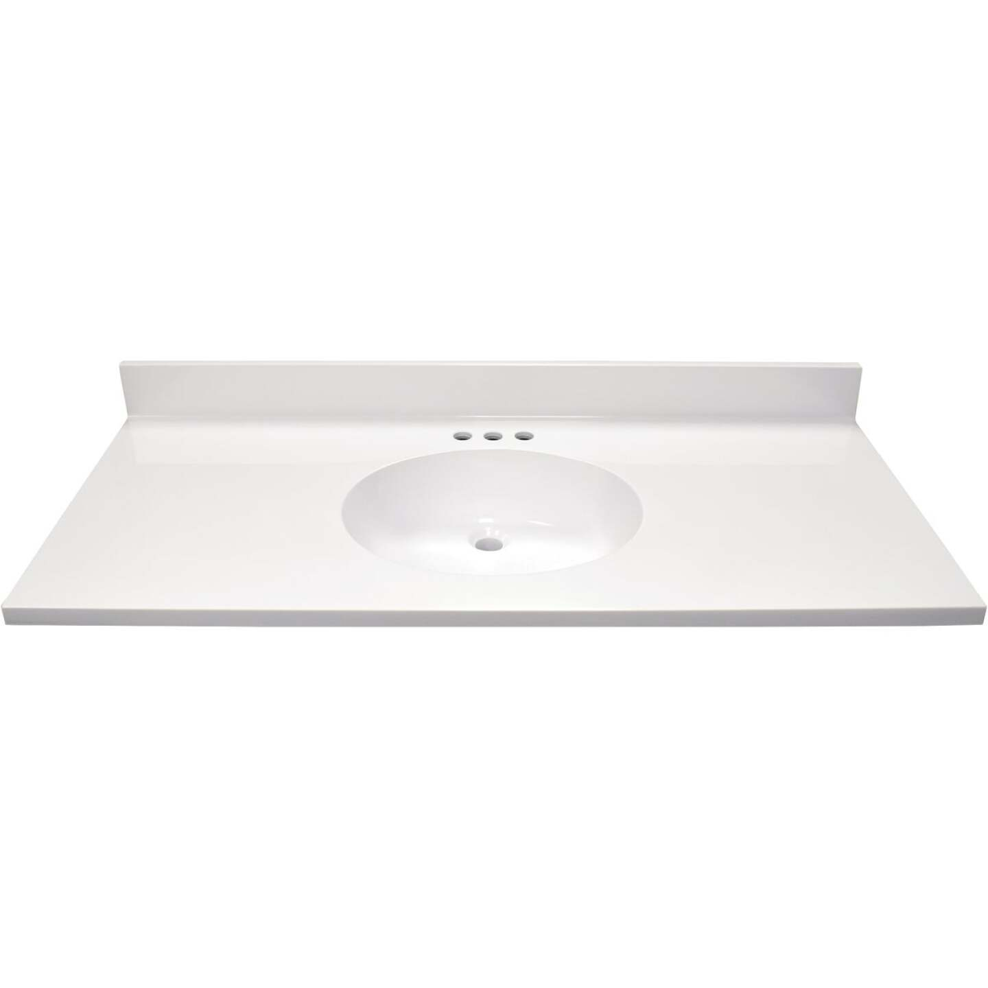 Modular Vanity Tops 49 In. W x 22 In. D Solid White Cultured Marble Vanity Top with Oval Bowl Image 2