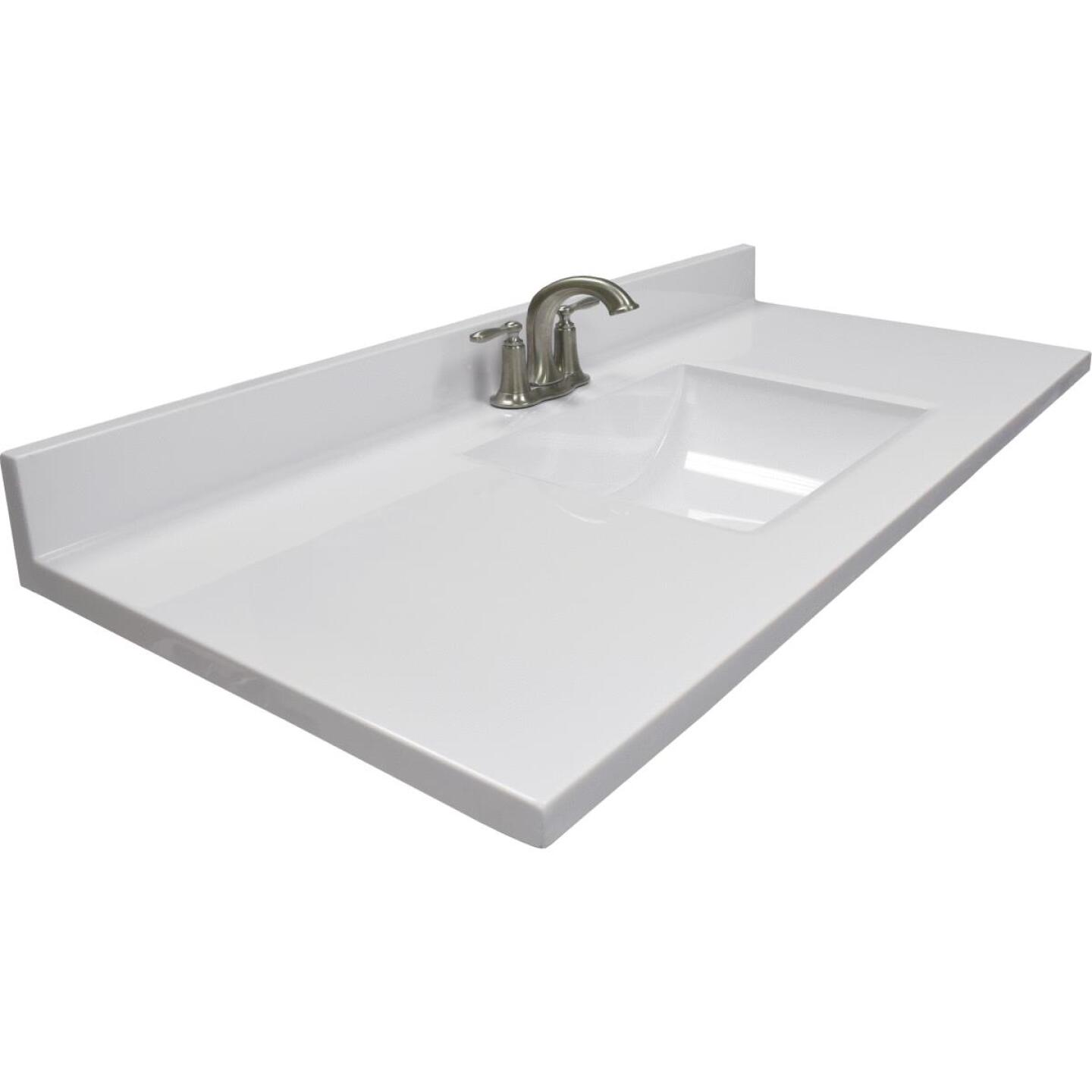 Modular Vanity Tops 49 In. W x 22 In. D Solid White Cultured Marble Vanity Top with Rectangular Wave Bowl Image 1
