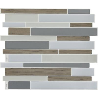 Smart Tiles 9.63 In. x 11.55 In. Glass-Like Plastic Backsplash Peel & Stick, Milano Argento Mosaic