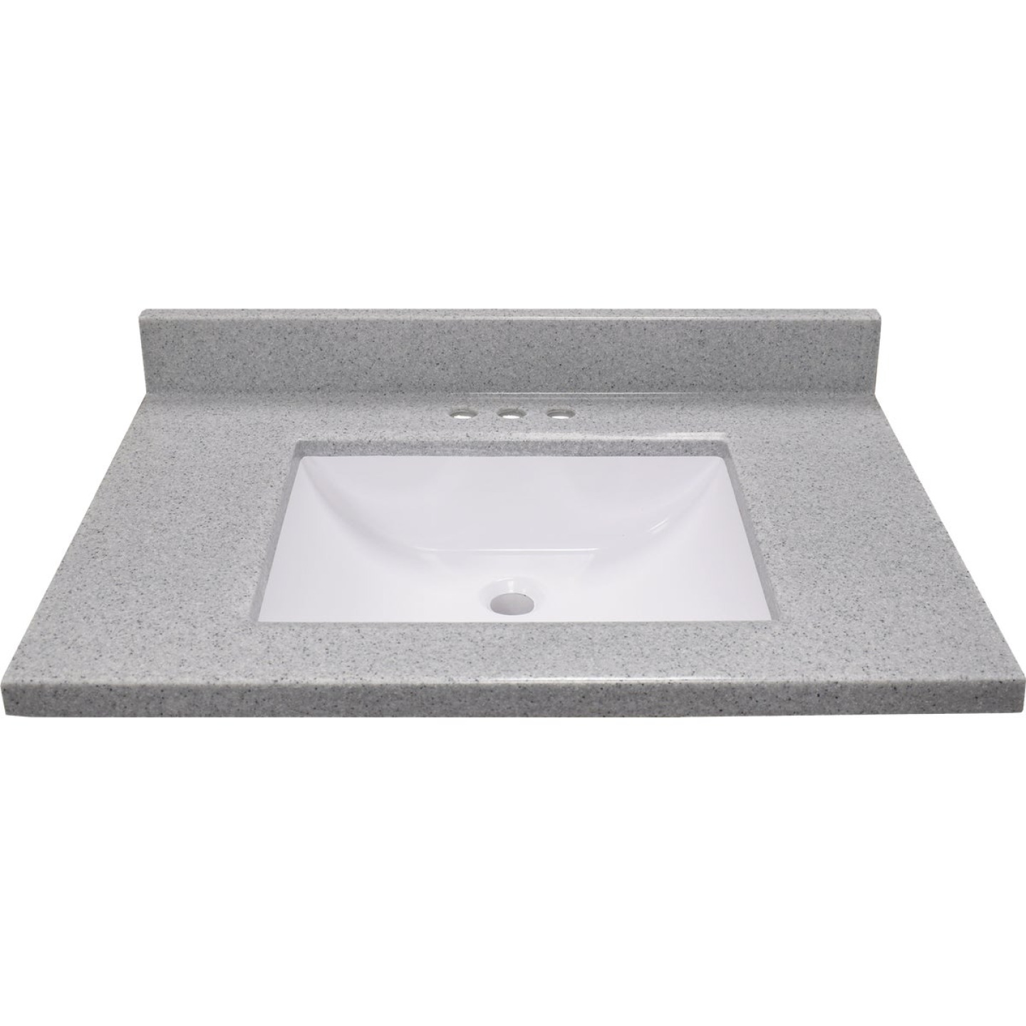Modular Vanity Tops 31 In. W x 22 In. D Pewter Cultured Marble Vanity Top with Rectangular Wave Bowl Image 2