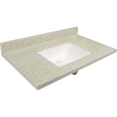 Modular Vanity Tops 37 In. W x 22 In. D Dune Cultured Marble Vanity Top with Rectangular Wave Bowl