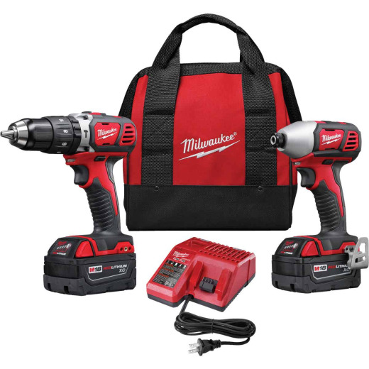 Milwaukee 2-Tool M18 Lithium-Ion Compact Hammer Drill & Impact Driver Cordless Tool Combo Kit