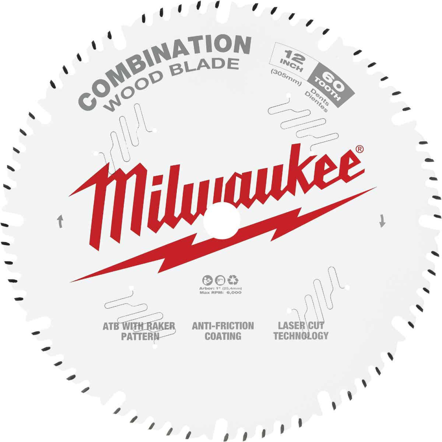Milwaukee 12 In. 60-Tooth General Purpose Combination Wood Circular Saw Blade Image 1