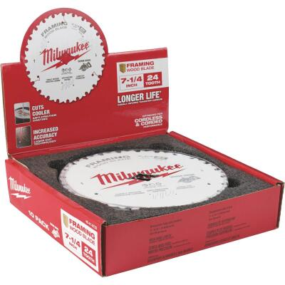 BMilwaukee 7-1/4 In. 24-Tooth Framing Worm Drive Circular Saw Blade, Bulk