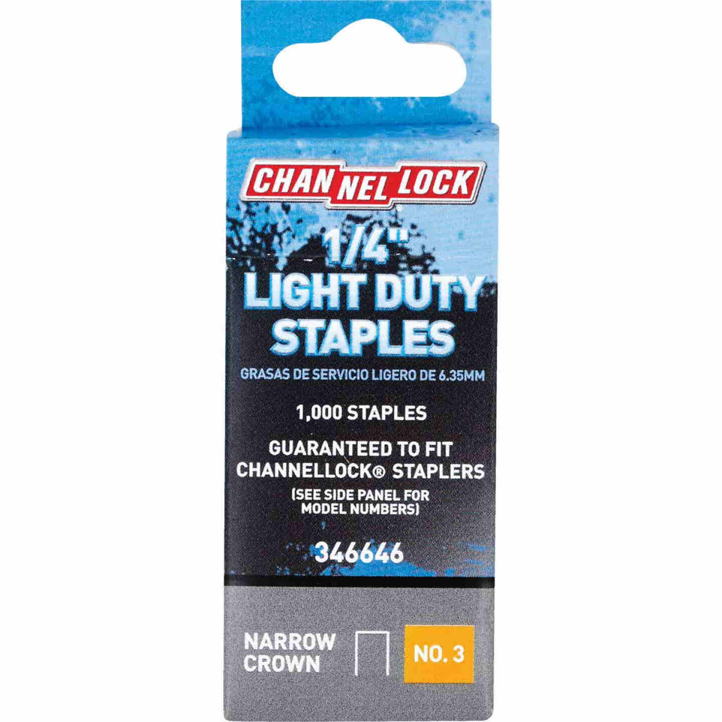 Channellock No. 3 Light Duty Narrow Crown Staple, 1/4 In. (1000-Pack) Image 1
