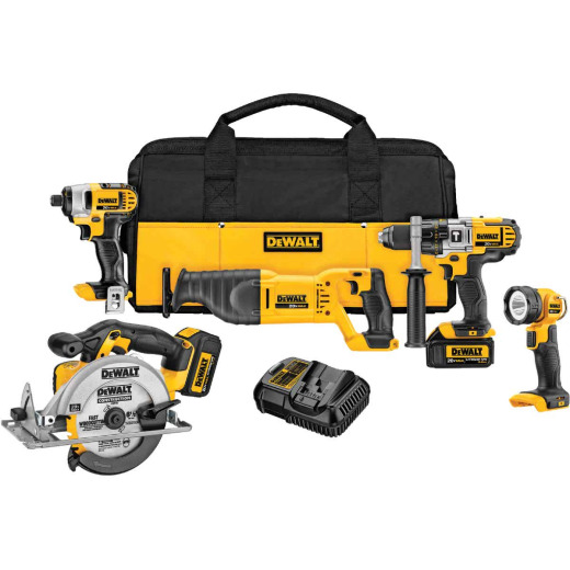 DeWalt 5-Tool 20V MAX XR Lithium-Ion Hammer Drill, Reciprocating Saw, Impact Driver, Circular Saw & Work Light Cordless Tool Combo Kit