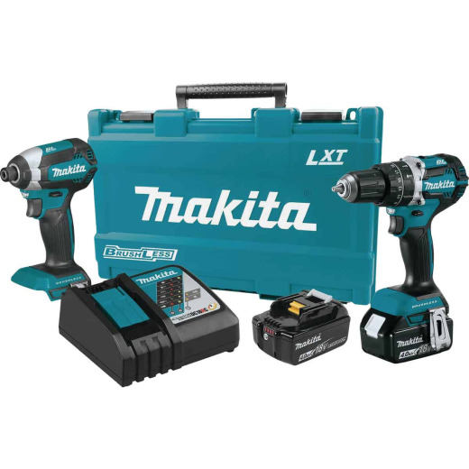 Makita 2-Tool 18V LXT Lithium-Ion Brushless Hammer Drill/Driver & Impact Driver Cordless Tool Combo Kit