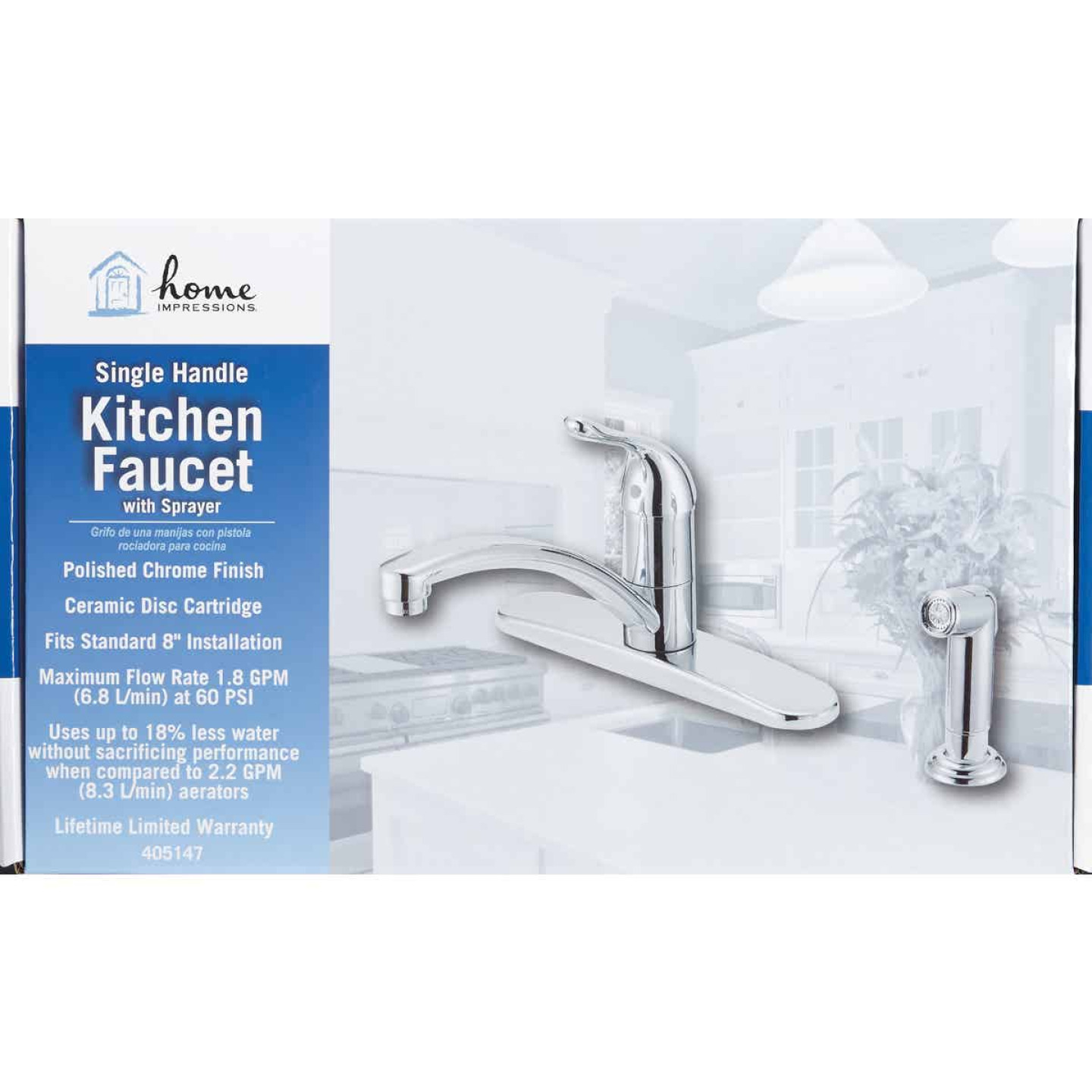 Home Impressions Single Handle Lever Kitchen Faucet with Side Spray, Chrome Image 2