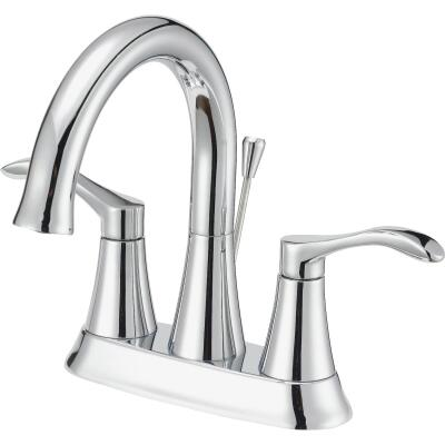 Home Impressions Chrome 2-Handle Lever 4 In. Centerset Bathroom Faucet with Pop-Up