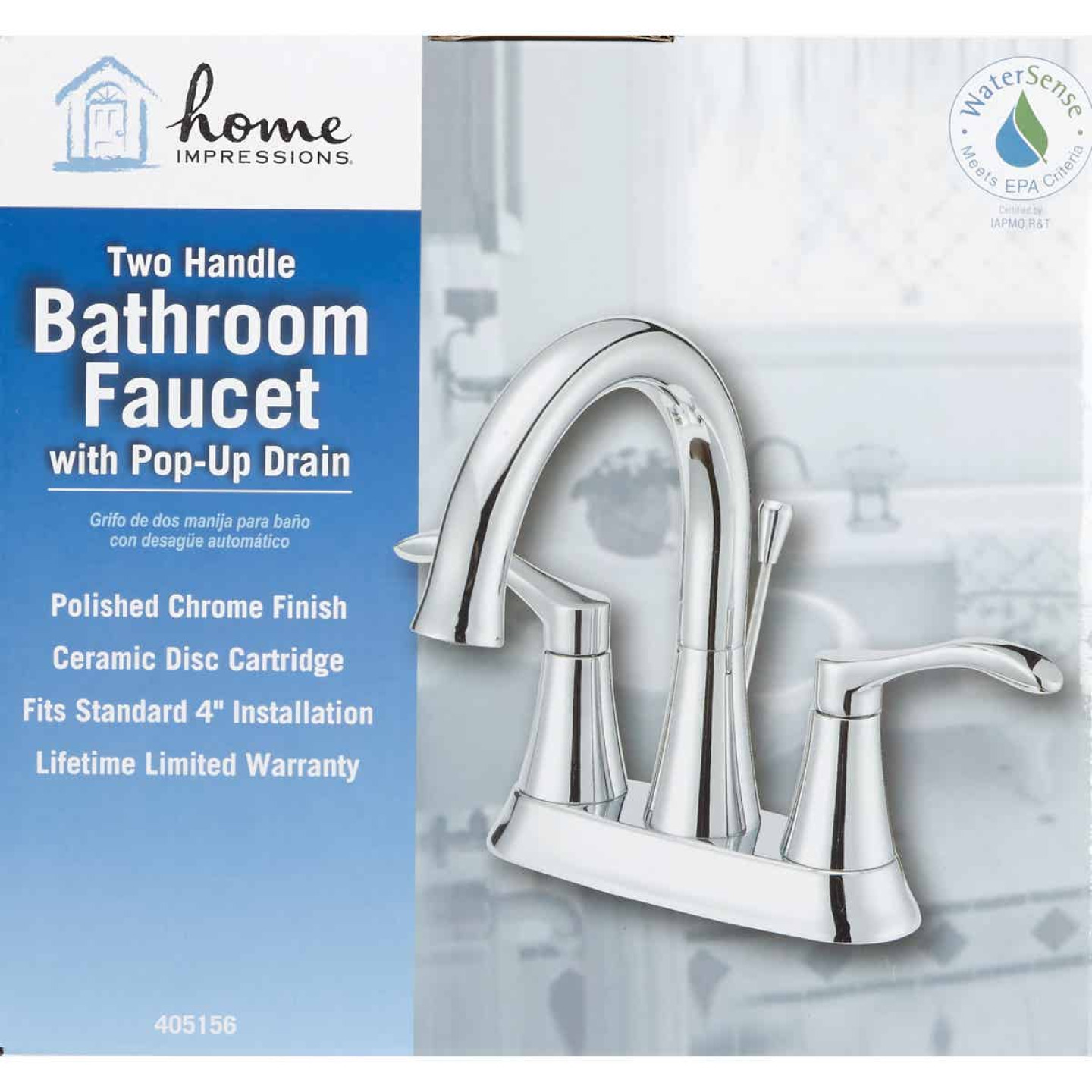 Home Impressions Chrome 2-Handle Lever 4 In. Centerset Bathroom Faucet with Pop-Up Image 2