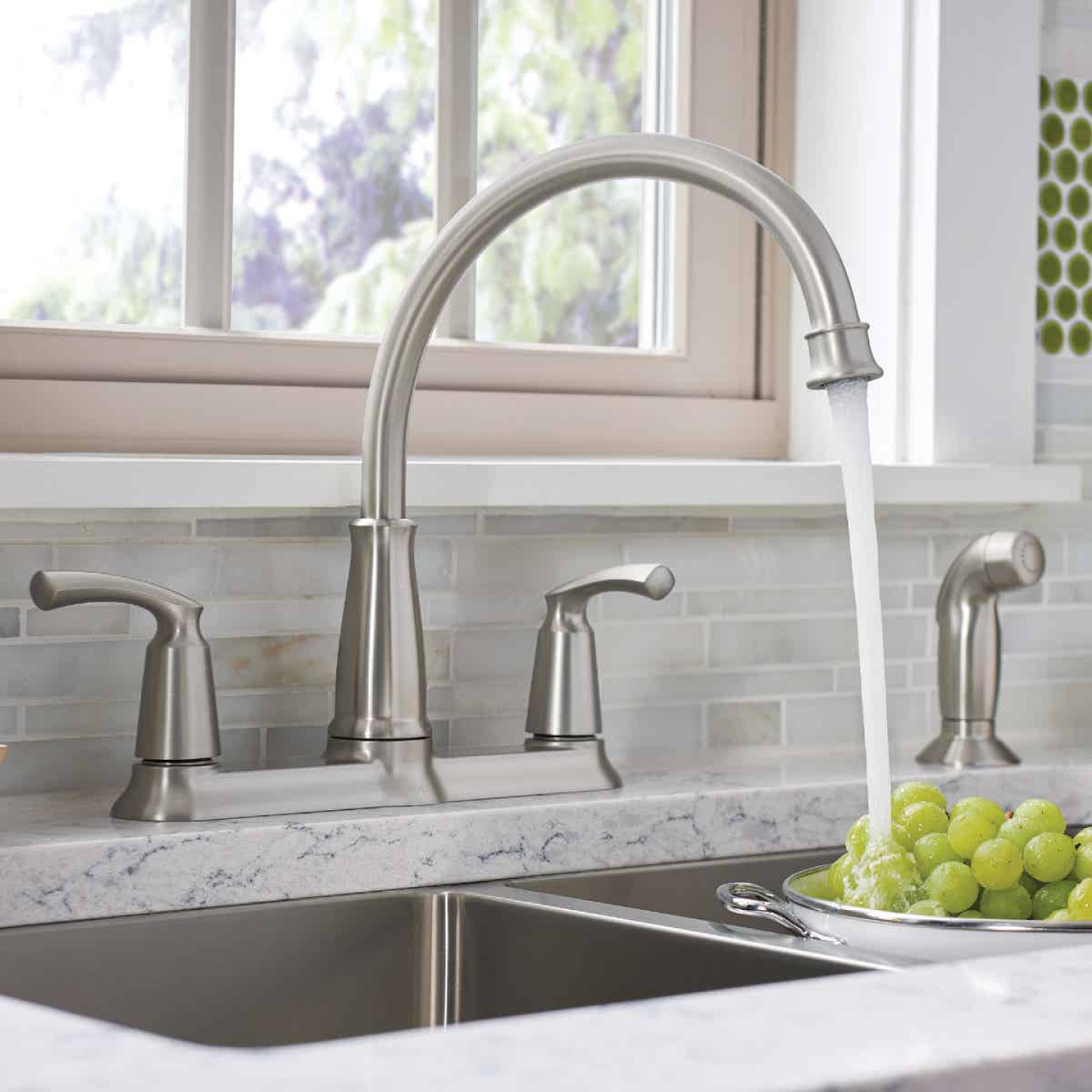 Moen Bexley Dual Handle Lever Kitchen Faucet with Side Spray, Stainless Image 3