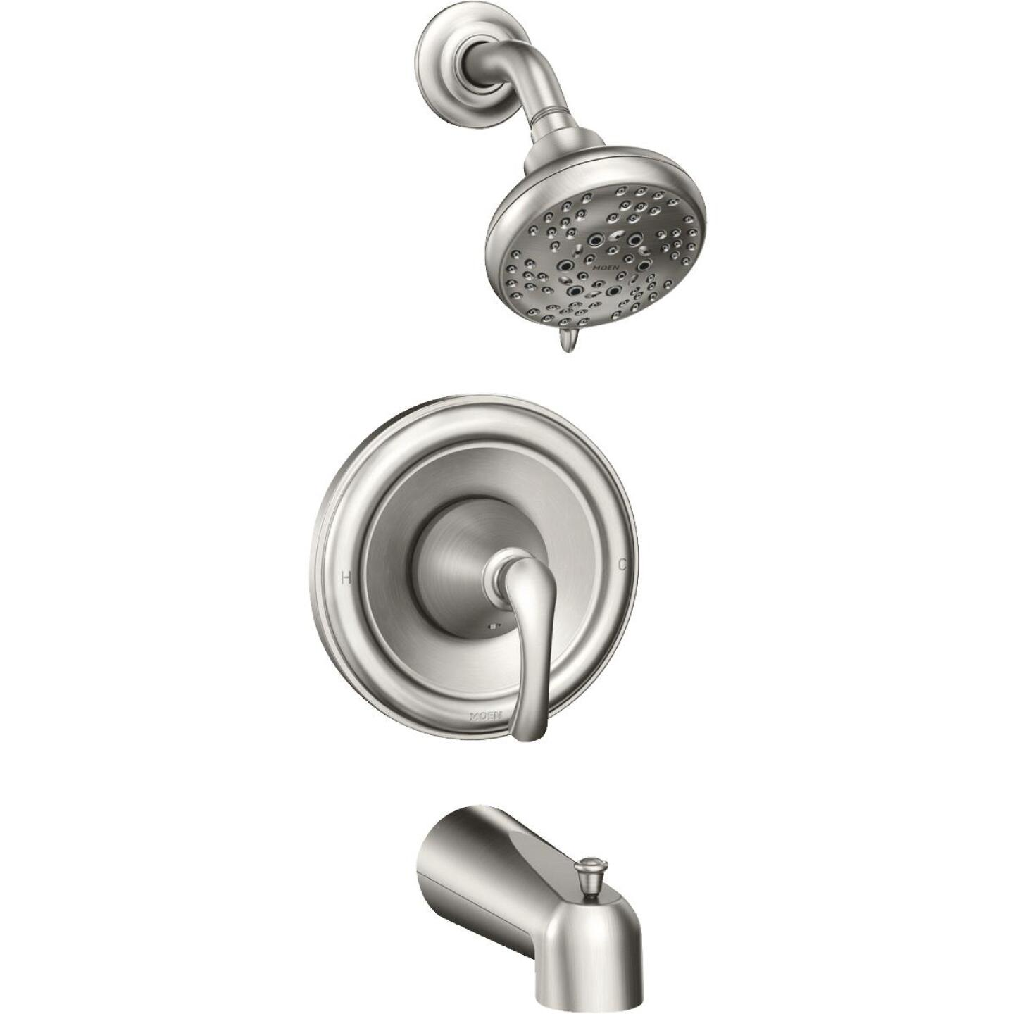 Moen Tiffin 1-Handle Spot Resistant Brushed Nickel Tub & Shower Faucet Image 1