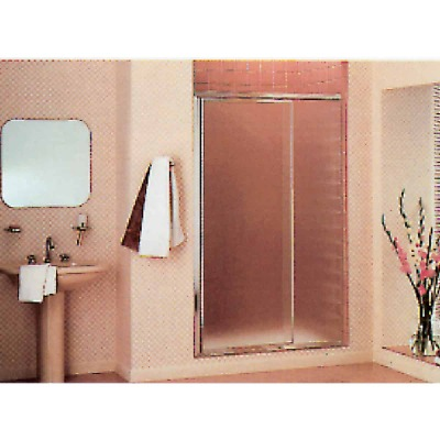 Sterling Vista Pivot II 36 In. W. X 65-1/2 In. H. Chrome Pebbled Glass Shower Door
