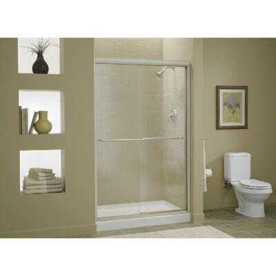 Sterling Finesse 47-5/8 In. W. X 70-5/16 In. H. Nickel Frameless Clear Sliding Shower Door