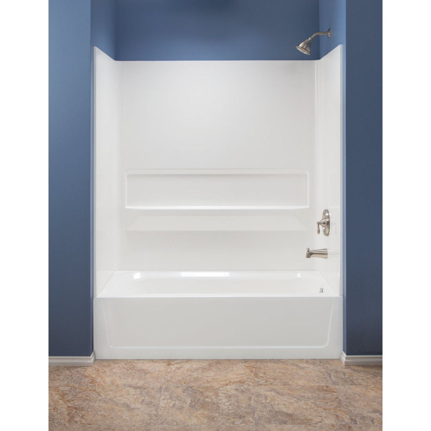 Mustee Topaz 3-Piece 60 In. L x 30 In. D (Bathtub) Tub Wall Kit in White Image 1