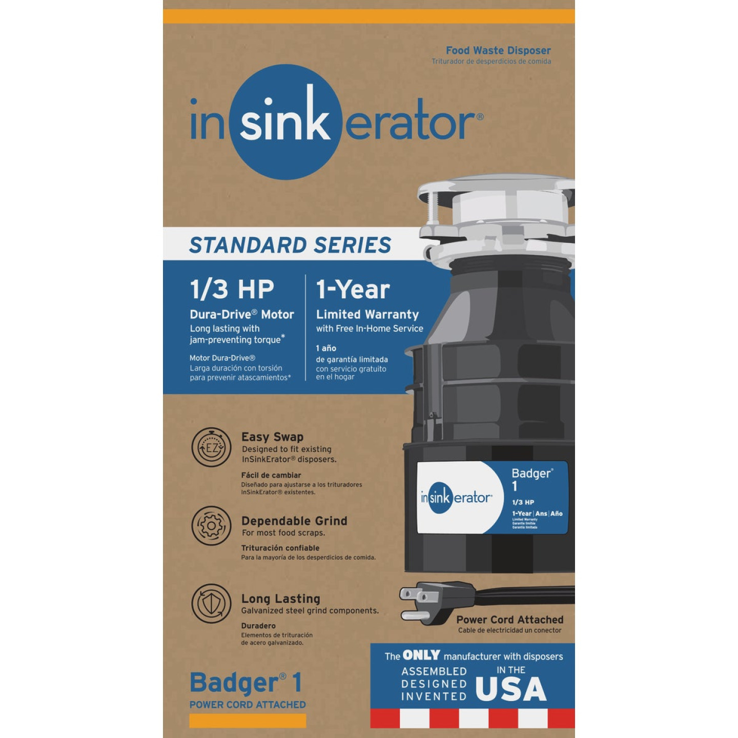 Insinkerator 1/3 HP Badger 1 Garbage Disposer with Power Cord, 1 Year Warranty Image 1