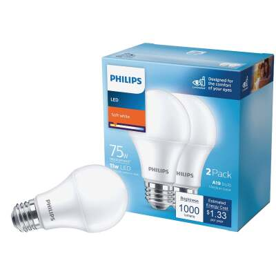 Philips 75W Equivalent Soft White A19 Medium LED Light Bulb (2-Pack)