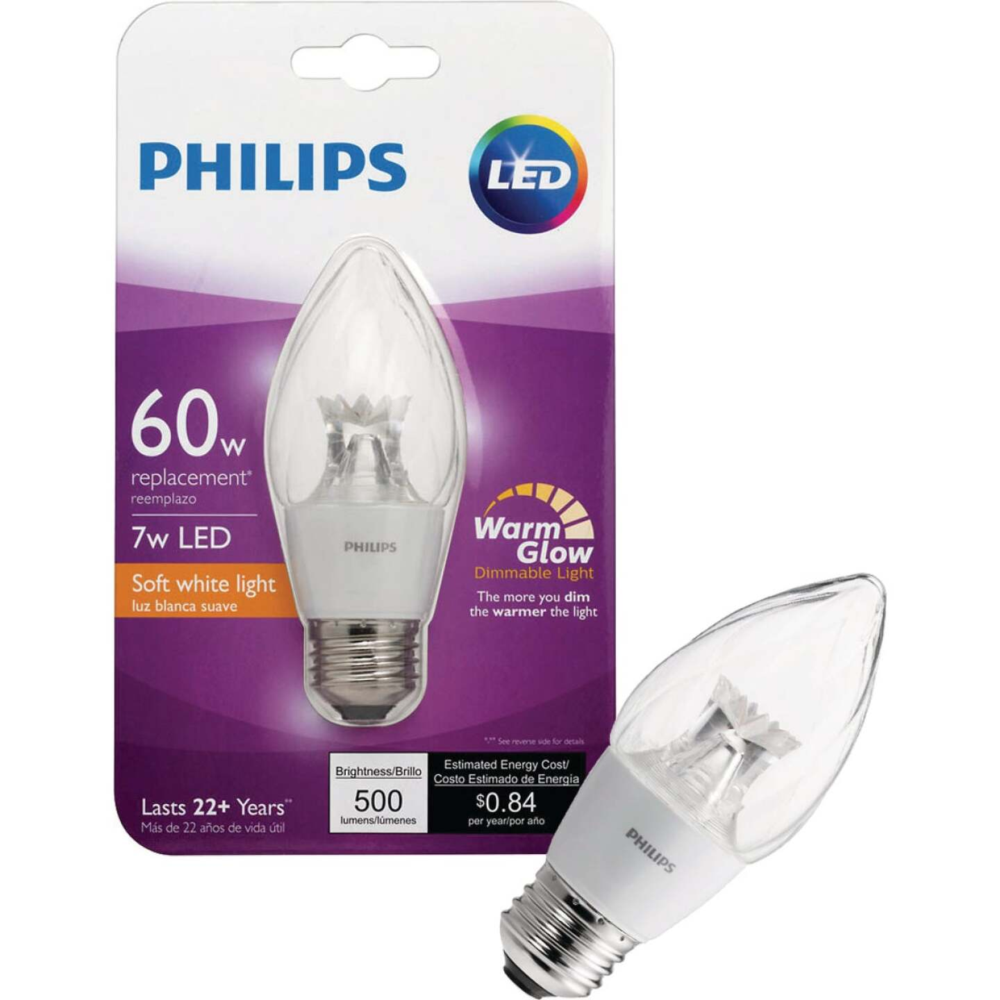 Philips Warm Glow 60W Equivalent Soft White F15 Medium Dimmable Post LED Decorative Light Bulb Image 1
