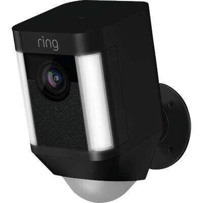 Ring Wireless Indoor/Outdoor Black Security Camera with Spotlight
