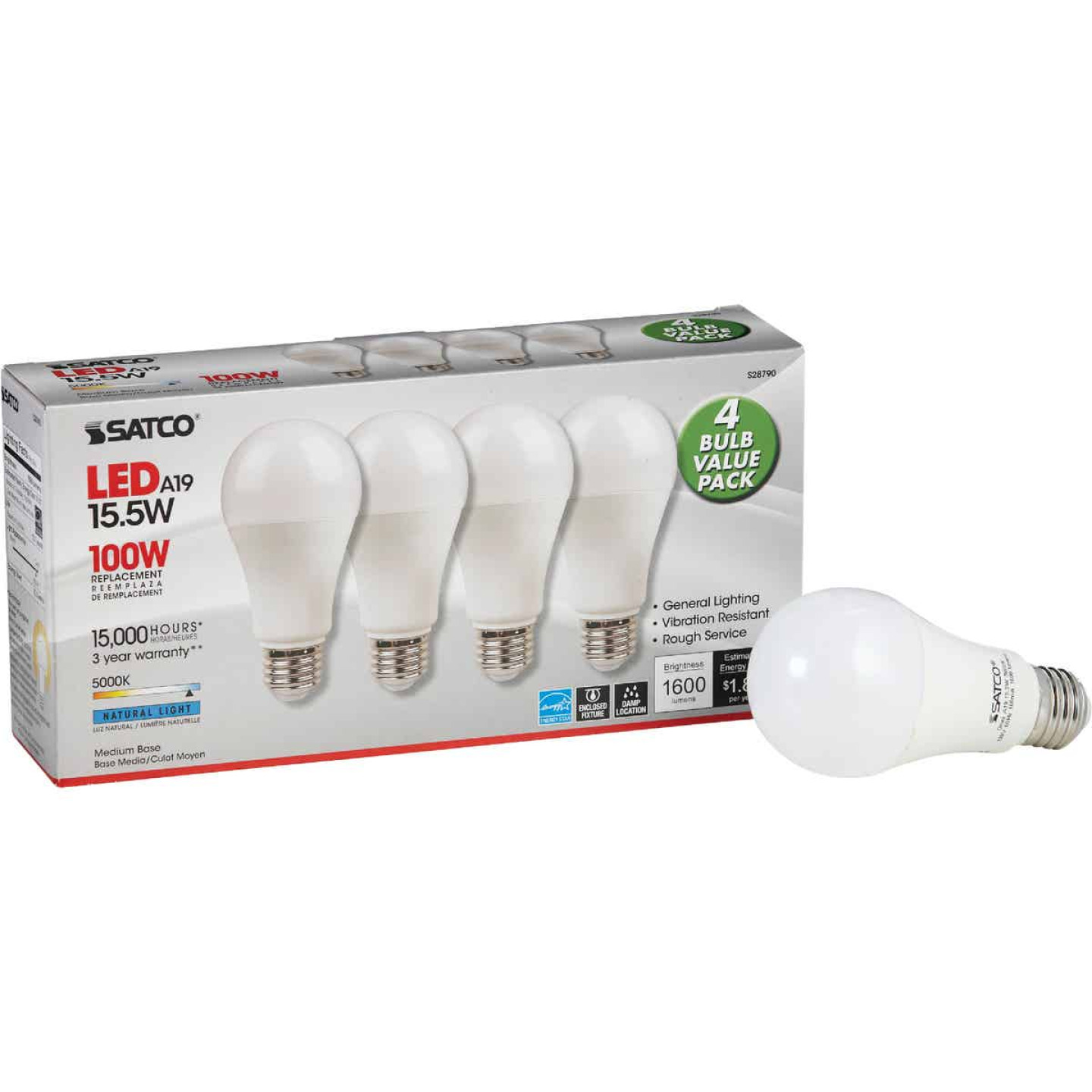 Satco 100W Equivalent Natural Light A19 Medium LED Light Bulb (4-Pack) Image 1