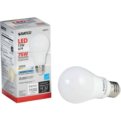 Satco 40W Equivalent Warm White A19 Medium Dimmable LED Light Bulb