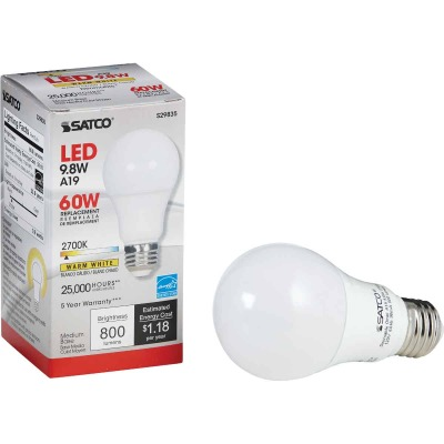 Satco 60W Equivalent Warm White A19 Medium Dimmable LED Light Bulb