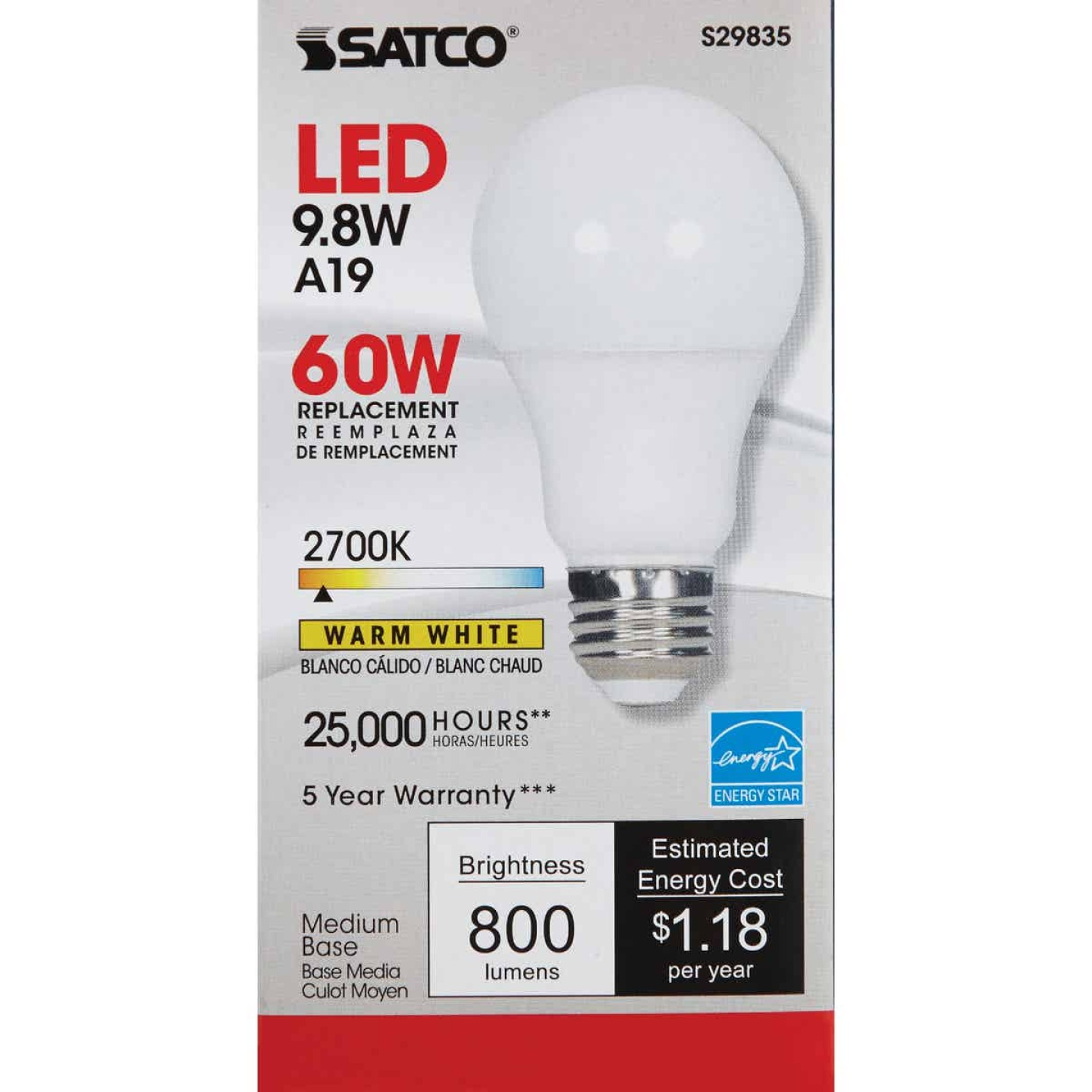Satco 60W Equivalent Warm White A19 Medium Dimmable LED Light Bulb Image 2