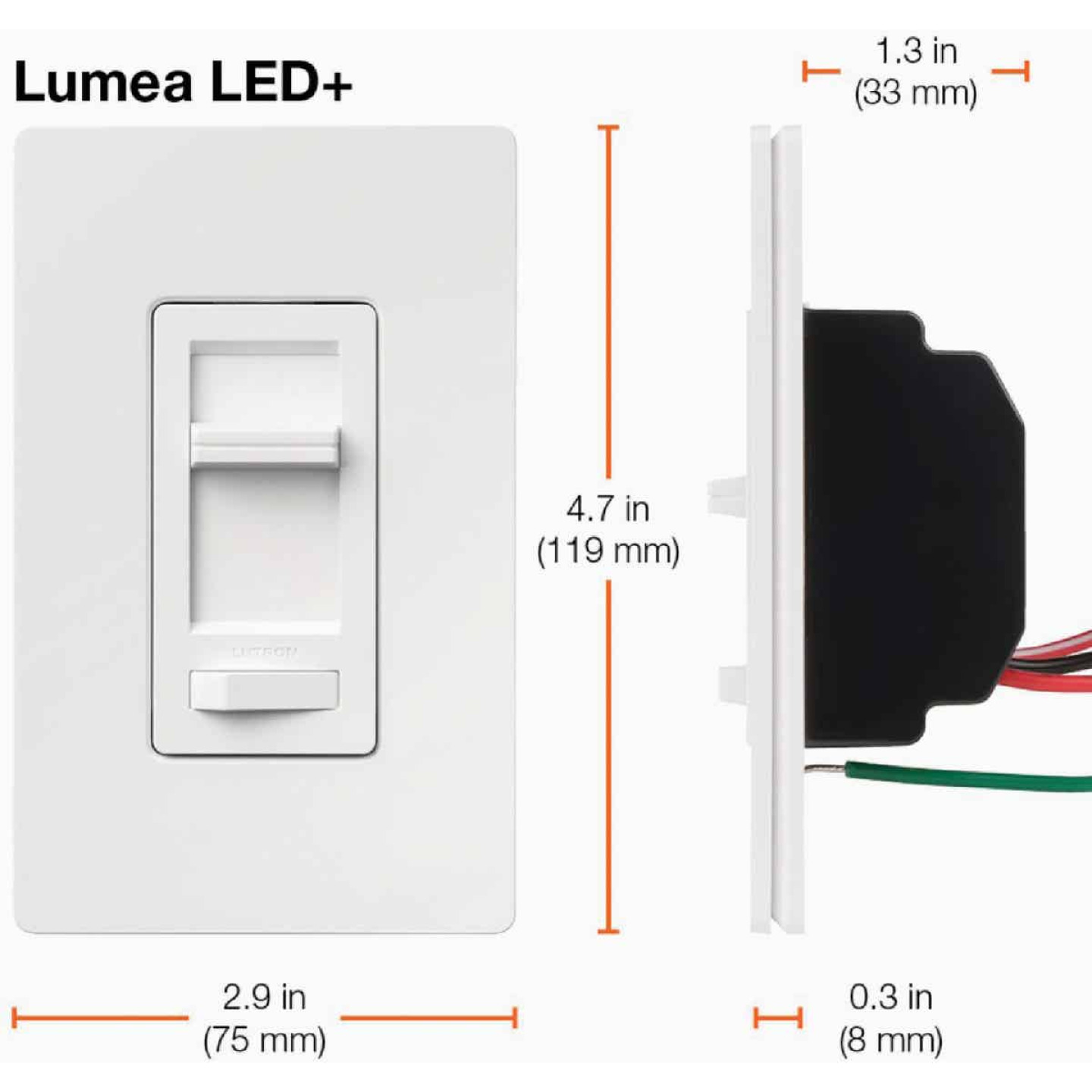 Lutron Lumea Incandescent/Halogen/LED/CFL White Slide Dimmer Switch Image 8