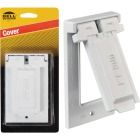 Bell Single Gang Vertical Mount Die-Cast Metal White Weatherproof GFCI Outdoor Outlet Cover Image 1