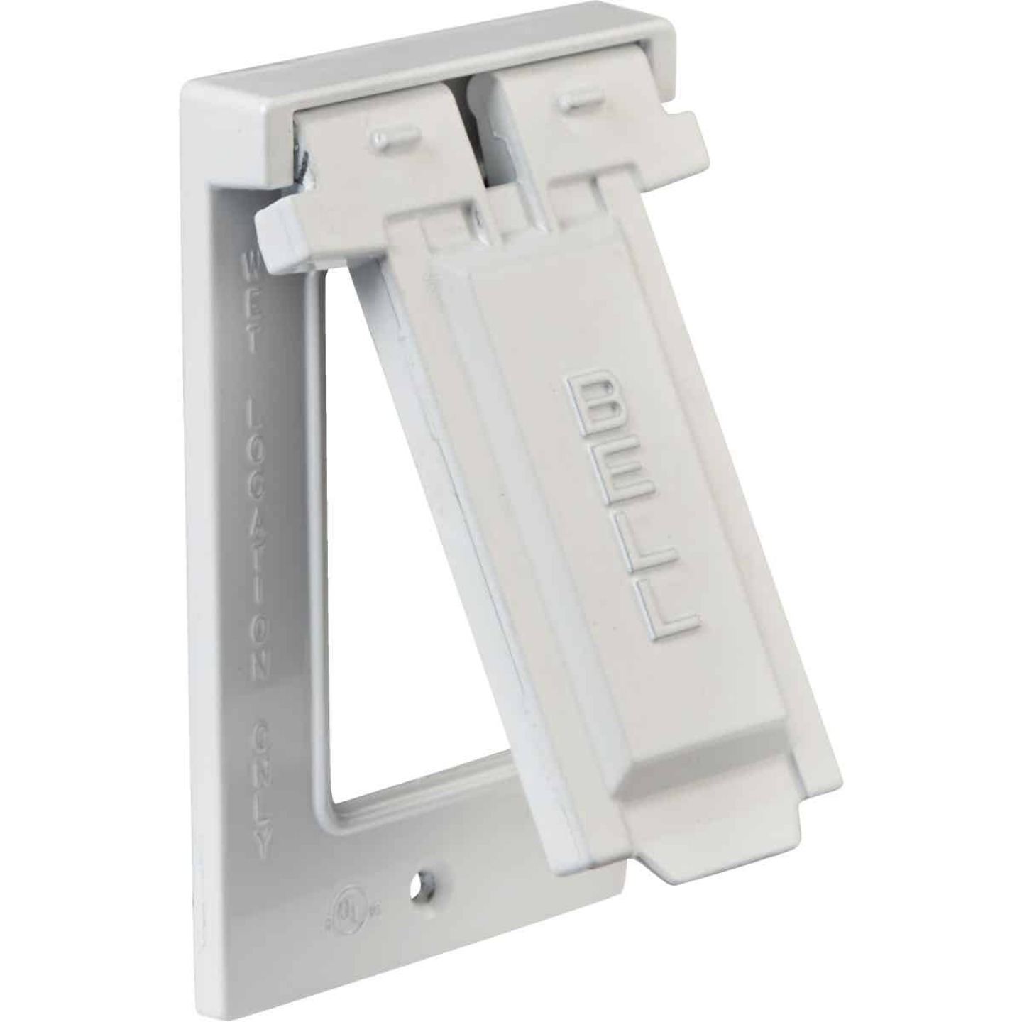 Bell Single Gang Vertical Mount Die-Cast Metal White Weatherproof GFCI Outdoor Outlet Cover Image 3