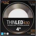 Liteline Trenz ThinLED 4 In. New Construction/Remodel IC Rated White 575 Lm. 3000K Recessed Light Kit Image 2